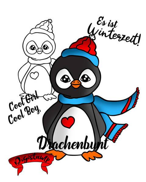 Digi Stamp Printable Pinguin Winter Weihnacht unisex bei Makerist