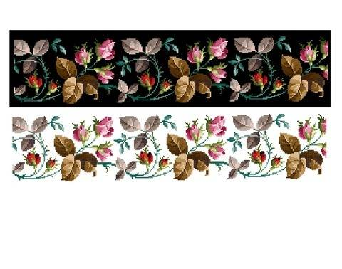 Rose garland - Cross stitch pattern