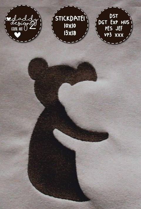 Schatten-Illusions-Stickdatei - TEDDYs - 10x10 18x13