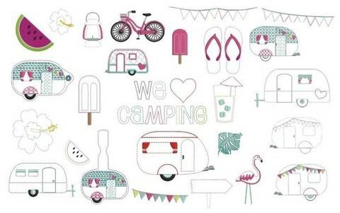 Stickdatei - Camping Anhänger & ITH Tasche & ITH Wimpel