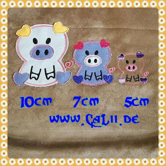 Schweinchen Stickdatei 10x10er Rahmen 3 Größen bei Makerist - Bild 1