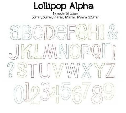 Stickdatei - Lollipop Alpha Schriftart in PES
