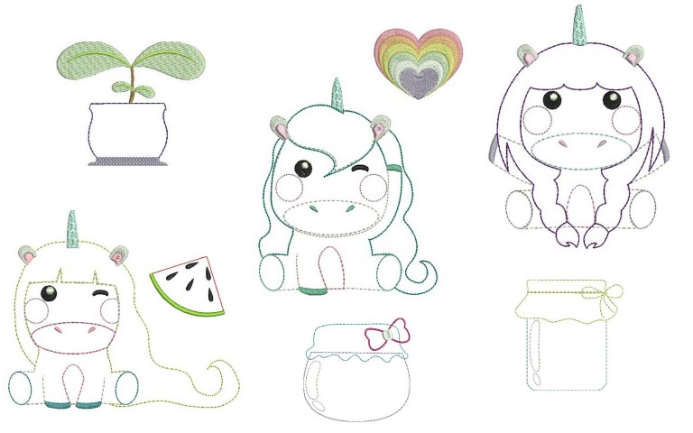 Stickdatei - Sweet Unicorns Appli in PES