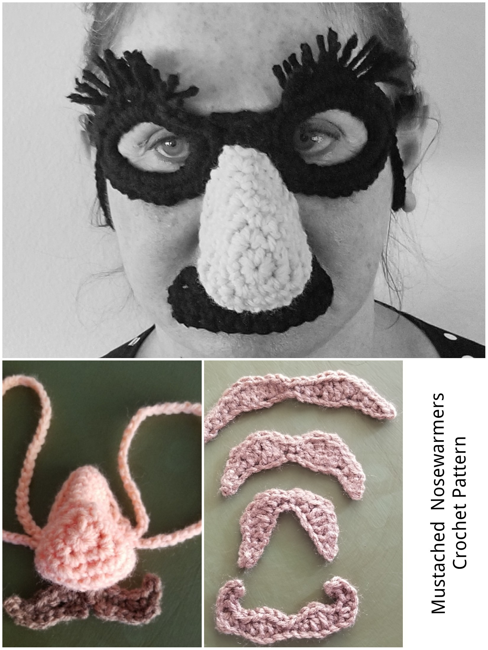 Mustached Nose warmer Crochet Patterns