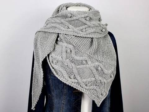 """Knitting pattern shawl """"Cables over Cables"""""""