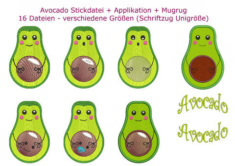 16 tlg. Stickdatei AVOCADO + Applikation + MugRug