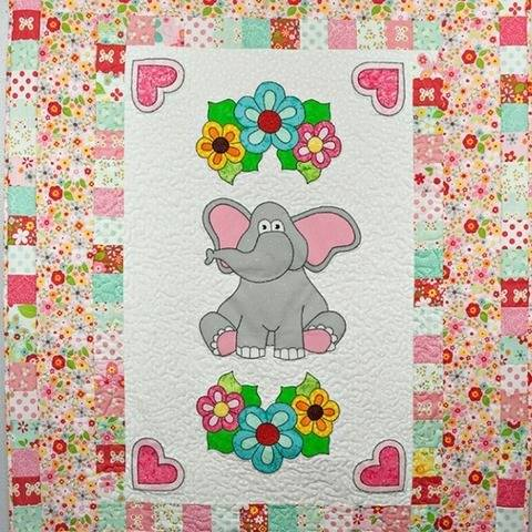 Elephant with Flowers Nursery Quilt Pattern