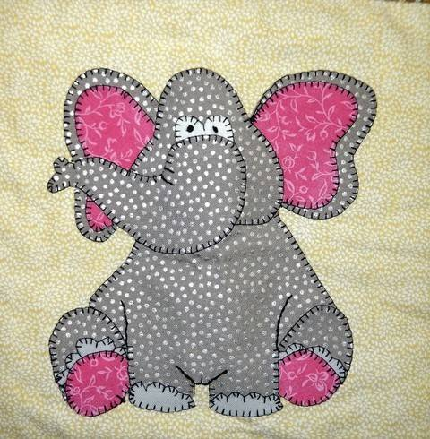 African Elephant Applique Quilt Block