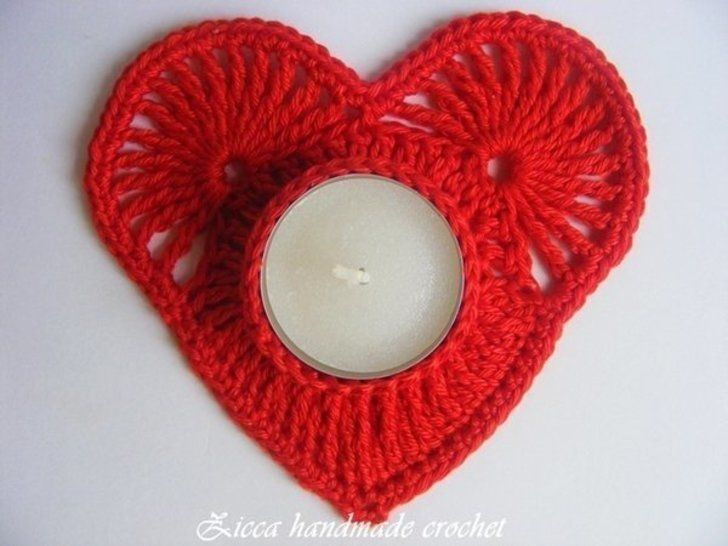 Crochet heart candle coasters, tealight holder at Makerist - Image 1