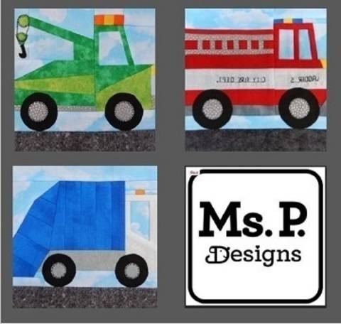 Service Vehicle Paper Pieced Quilt Block Pattern Set