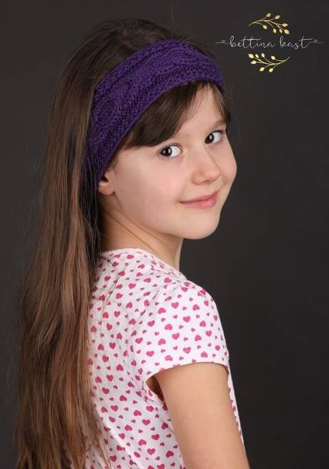 Biniel - Stirnband mit Zopfmuster lila
