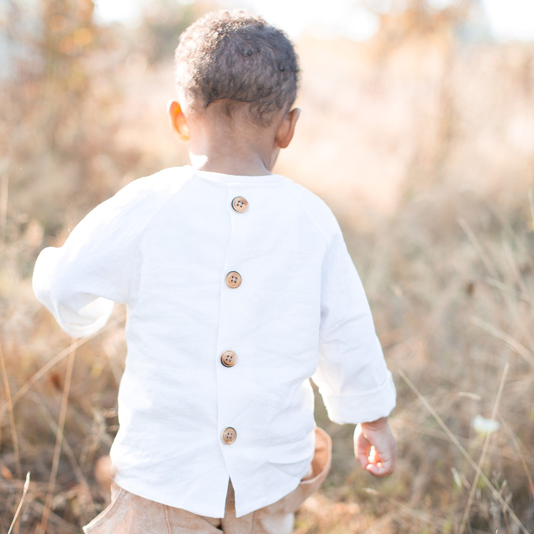 Raglan Button Back Shirt for Babies, Toddlers and Kids