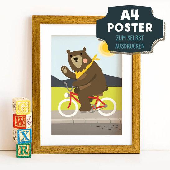 A4 Poster Bär im Frühling zum selbst Ausdrucken bei Makerist - Bild 1