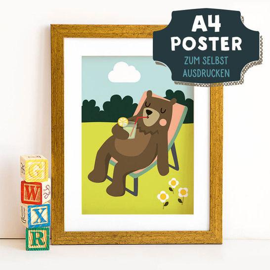 A4 Poster Bär im Sommer zum selbst Ausdrucken bei Makerist - Bild 1
