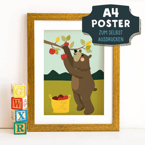 A4 Poster Bär im Herbst zum selbst Ausdrucken bei Makerist