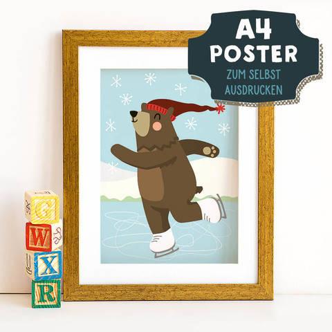 A4 Poster Bär im Winter zum selbst Ausdrucken bei Makerist