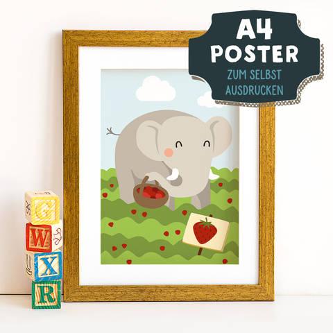 A4 Poster Elefant im Frühling zum selbst Ausdrucken bei Makerist