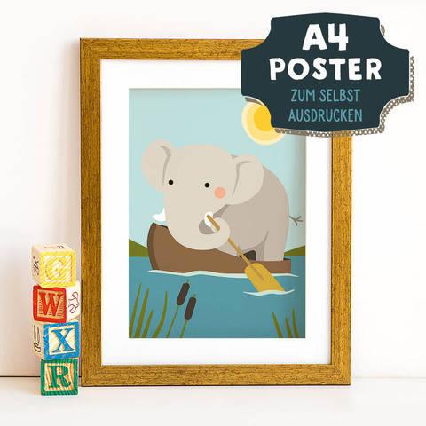 A4 Poster Elefant im Sommer zum selbst Ausdrucken bei Makerist