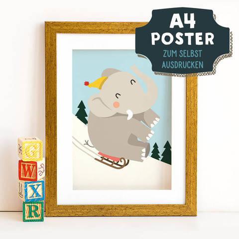 A4 Poster Elefant im Winter zum selbst Ausdrucken bei Makerist