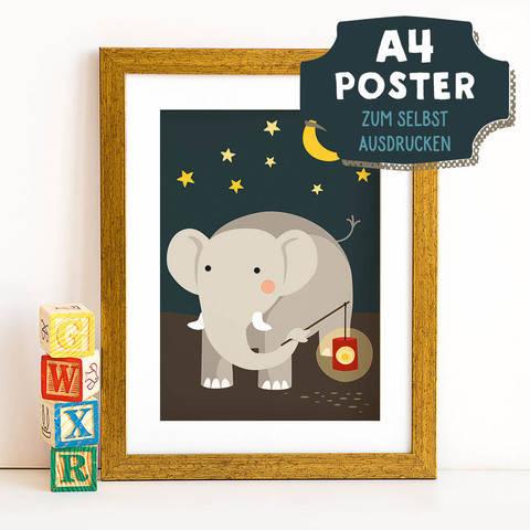 A4 Poster Elefant im Herbst zum selbst Ausdrucken bei Makerist