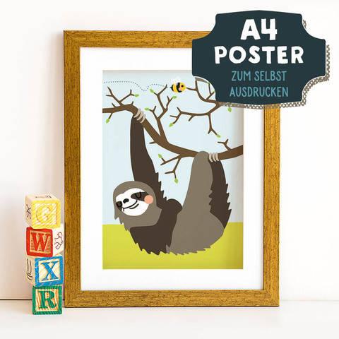 A4 Poster Faultier im Frühling zum selbst Ausdrucken bei Makerist