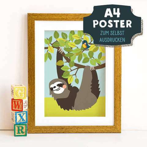 A4 Poster Faultier im Sommer zum selbst Ausdrucken bei Makerist