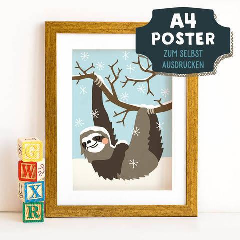 A4 Poster Faultier im Winter zum selbst Ausdrucken bei Makerist