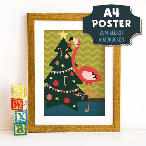 A4 Poster Flamingo im Winter zum selbst Ausdrucken bei Makerist