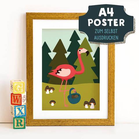 A4 Poster Flamingo im Herbst zum selbst Ausdrucken bei Makerist