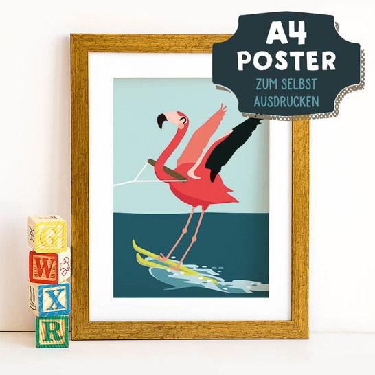 A4 Poster Flamingo im Sommer zum selbst Ausdrucken bei Makerist - Bild 1