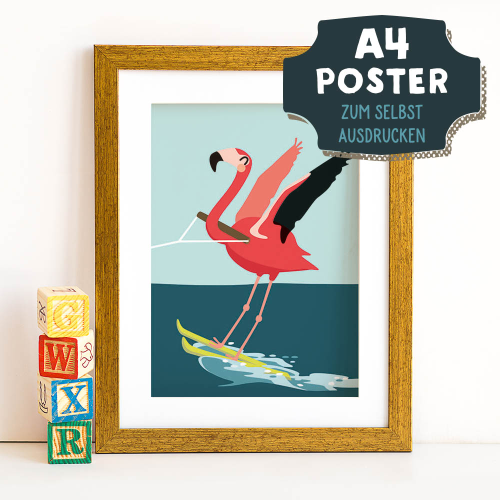 A4 Poster Flamingo im Sommer zum selbst Ausdrucken