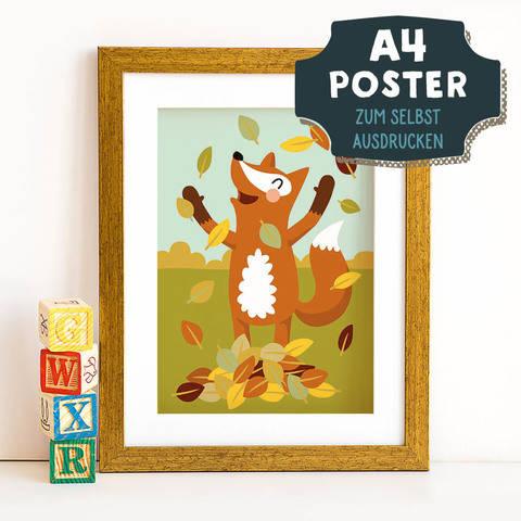 A4 Poster Fuchs im Herbst zum selbst Ausdrucken bei Makerist