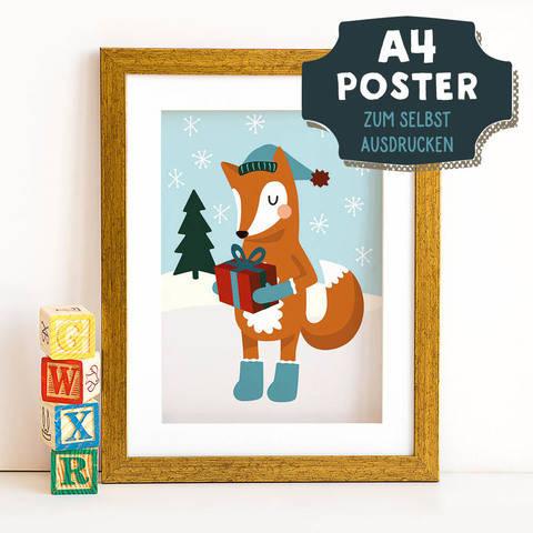 A4 Poster Fuchs im Winter zum selbst Ausdrucken bei Makerist