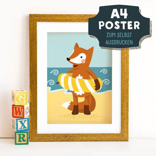A4 Poster Fuchs im Sommer zum selbst Ausdrucken bei Makerist - Bild 1
