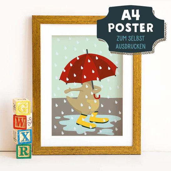 A4 Poster Känguru im Herbst zum selbst Ausdrucken bei Makerist - Bild 1