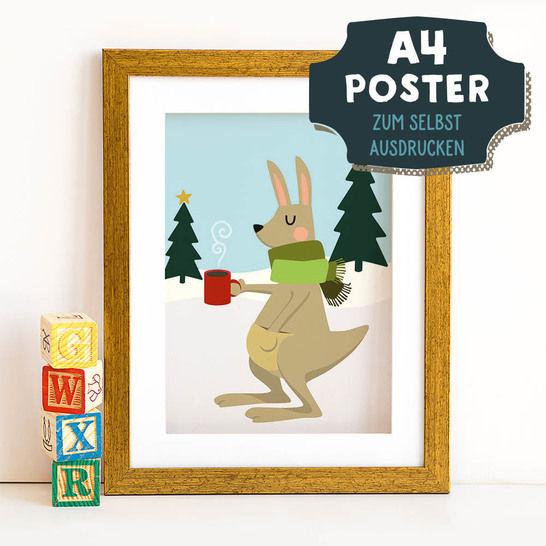 A4 Poster Känguru im Winter zum selbst Ausdrucken bei Makerist - Bild 1