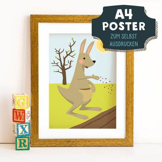 A4 Poster Känguru im Frühling zum selbst Ausdrucken bei Makerist - Bild 1