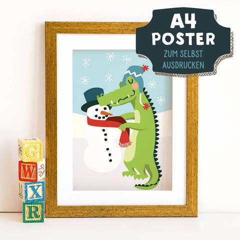 A4 Poster Krokodil im Winter zum selbst Ausdrucken bei Makerist