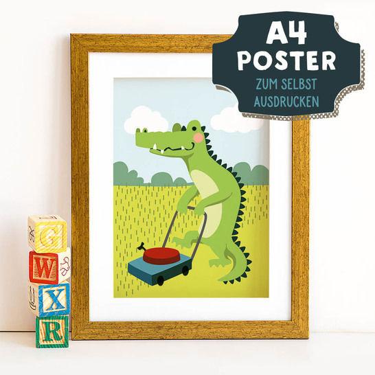A4 Poster Krokodil im Frühling zum selbst Ausdrucken bei Makerist - Bild 1