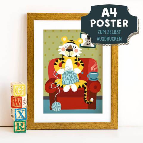 A4 Poster Tiger im Winter zum selbst Ausdrucken bei Makerist