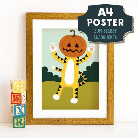 A4 Poster Tiger im Herbst zum selbst Ausdrucken bei Makerist