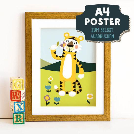 A4 Poster Tiger im Frühling zum selbst Ausdrucken bei Makerist - Bild 1