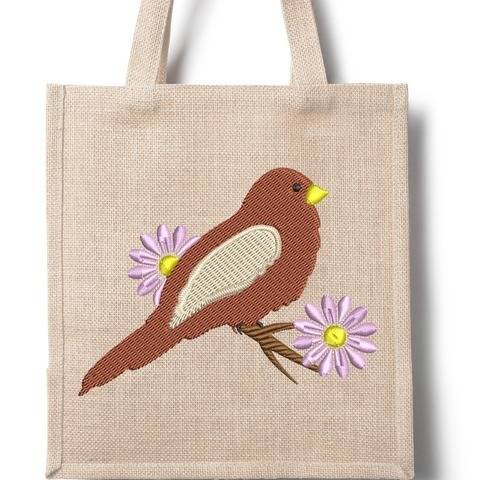 Frühling - Vogel auf Zweig - Stickdatei