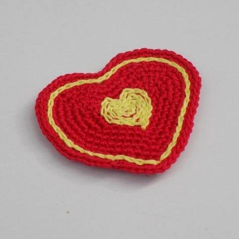 Valentine's Day Crochet Heart, Crocheted Heart, Applique