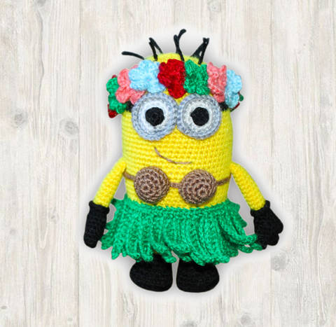 Minion Hula Crochet Pattern, Crochet Minion Hawaii Girl