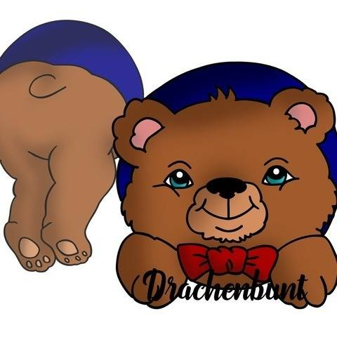 Digistamp Printable Bär Teddybär guckt aus Loch bei Makerist