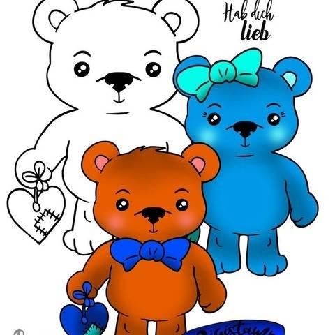 Digistamp Printable Valentinstag Bär Teddybär Mädchen Junge bei Makerist