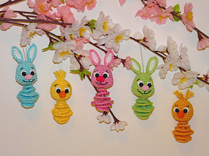 Crochet Pattern Easter hangers bunny and chick at Makerist - Image 1
