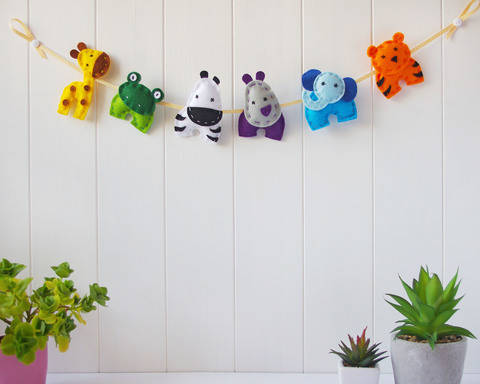 Felt Animals Nursery Garland - Sewing Pattern PDF Download