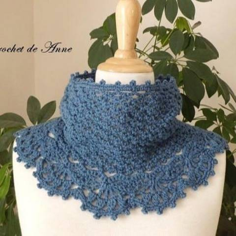 PDF CROCHET - Snood orné d'une belle bordure dentelle !  chez Makerist